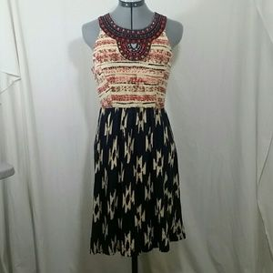 LUCKY BRAND Aztec Print Red, Blue Dress Size XS